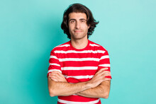 Portrait Of Nice Content Brown-haired Guy Folded Arms Isolated Over Bright Green Turquoise Color Background
