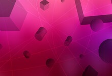 Light Purple, Pink Vector Background With 3D Cubes, Cylinders, Spheres, Rectangles.
