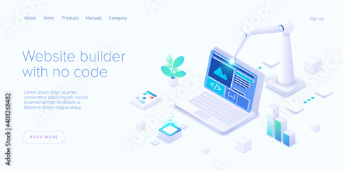 Fotografia Website builder illustration in isometric vector design