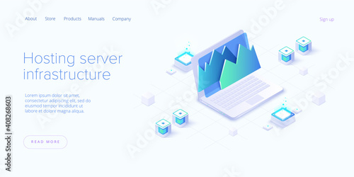 Big data analysis in isometric vector illustration. Abstract datacenter or data hosting server. Сomputer storage or workstation.
