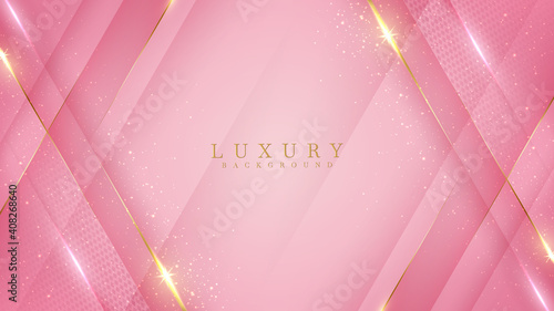 Luxury golden line background pink shades in 3d abstract style , Valentines day concept, Illustration from vector about modern template deluxe design. - fototapety na wymiar