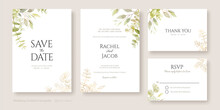 Set Of Floral Wedding Invitation Card, Save The Date, Thank You, Rsvp Template. Watercolour And Golden Leaves.