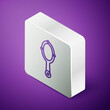 Isometric line Magic hand mirror icon isolated on purple background. Silver square button. Vector.