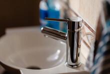 Closeup Shot Of Basin Tap In The Bathroom