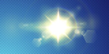 The Sun Is Shining Bright Light Rays With Realistic Glare. Light Star On A Transparent Black Background.