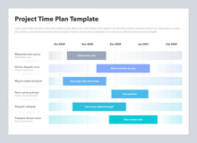 Project Time Plan Business Template With Six Project Tasks In Time Intervals. Easy To Use For Your Website Or Presentation.