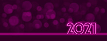 Stylish Neon 2021 Purple Bokeh Lights Background