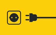Electric Wire Plug And Socket Unplugged Icon Symbol. Internet Connection Error 404 Logo Sign. Vector Illustration Image. Isolated On White Background.