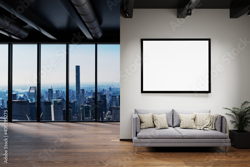 Fototapeta modern clean office waiting area reception with skyline view and large white pos