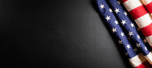 Happy Presidents Day Concept With Flag Of The United States On Black Wooden Background.