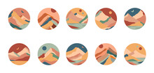 Set Of Creative Abstract Mountain Landscapes And Sand Dunes Round Icons.Social Media Covers.Trevel Blogger Templates For Stories.Vector Illustrations With Hand Drawn Mountains,sea,desert,sky,sun,moon.
