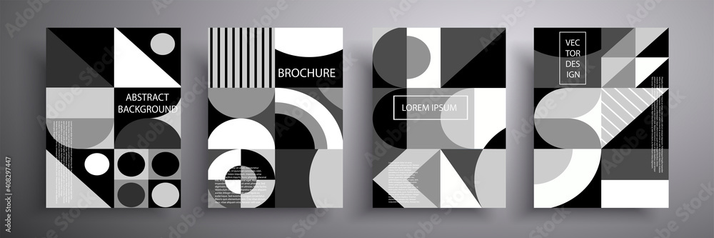 Fototapeta Set of covers. Abstract geometric pattern background, vector circle, triangle and square lines, art design. Black and white background. Compositions for book covers, posters, flyers, magazines.