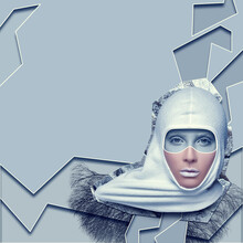 Fashionable Surreal Collage. Grey Background. 3d Image.