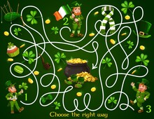 Kids Maze Game With St Patricks Day Leprechauns And Festive Items. Vector Labyrinth Puzzle Choose Correct Way Board Game. Task With Tangled Path, Clover Or Gold. Educational Children Preschool Riddle