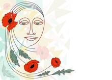 A Woman's Face, Flowers, Poppy Leaves In An Avant-garde Style.