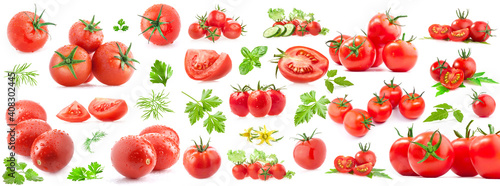 Photo Collection of tomatoes isolated on white background