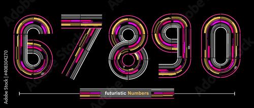 Obraz Numbers Typography Font futuristic modern style in a set 67890 - fototapety do salonu