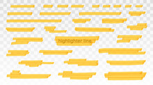 Yellow Highlighter Lines Set Isolated On Transparent Background. Marker Pen Highlight Underline Strokes. Vector Hand Drawn Graphic Stylish Element