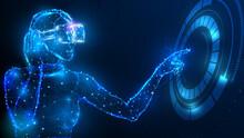People Wear VR Glasses Touch Virtual HUD Dashboard Hologram  Technology Innovation Concept Design EPS 10 VECTOR