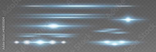 Fotografija Red horizontal lens flares pack. Laser beams,