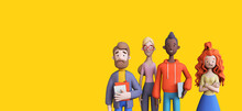 Group Of Diverse Business People On A Yellow Background Template. Business Teamwork Concept. Trendy 3d Illustration