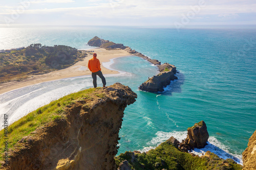 Fototapeta Hike in New Zealand coast obraz