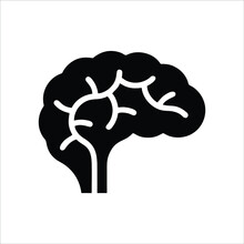 Brain Icon Isolated On White Background From Human Thought Collection. Trendy And Modern Brain Icon Brain Symbol For Logo, Web, App, UI. Simple Sign Brain Icon.