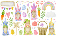 Set Of Happy Easter Watercolor Painted Elements Isolated On White Background, Gnomes, Branch, Hearts, Rose, Rainbow, Basket, Eggs, Windmills.