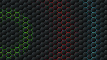 Abstract Black Hexagon Pattern On Colorful  Neon Background Technology Style. Honeycomb.