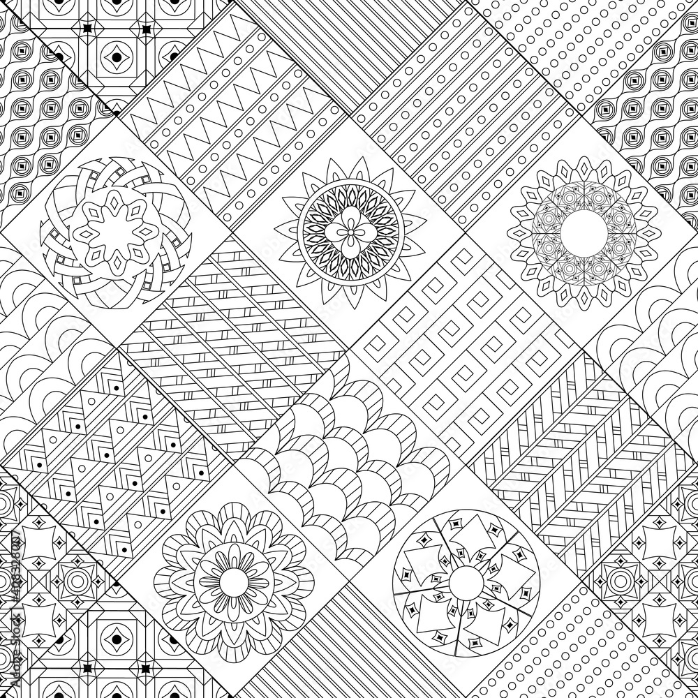 Fotografia seamless patchwork with rhombus of geometric patterns and arabes