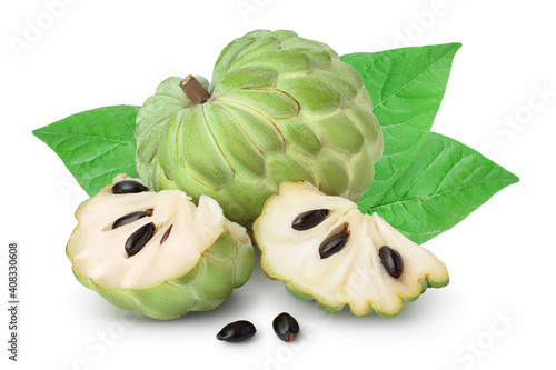 Fototapeta Sugar apple or custard apple isolated on white background with clipping path and full depth of field