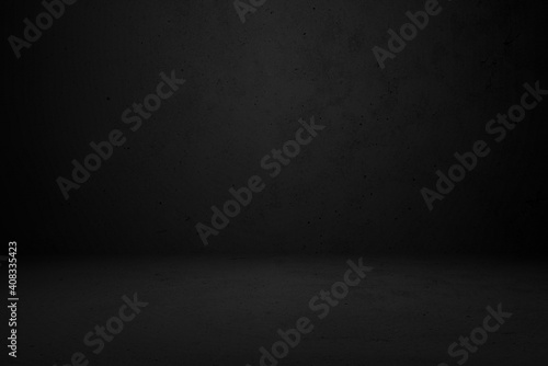 Black grunge wall background for display or montage of product