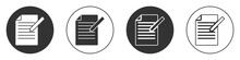 Black Document And Pen Icon Isolated On White Background. File Icon. Checklist Icon. Business Concept. Circle Button. Vector.