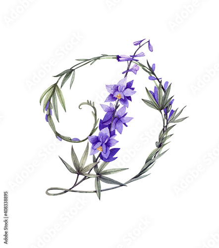Photographie Hand drawn floral letter D in botanical style