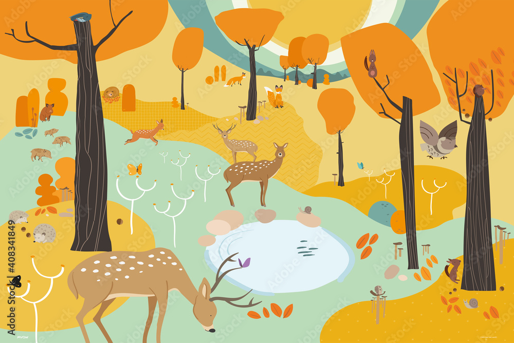 Fototapeta MYOW make your own world - cute animals have happy moments inside an autumn fantasy forest landscape of a vector illustration