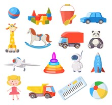 Baby Toys. Cartoon Kids Toy For Boys And Girls Ball, Car, Doll, Robot, Rocket And Airplane. Fun Child Belongings For Baby Shower Vector Set. Illustration Bear And Train, Pyramid And Robot
