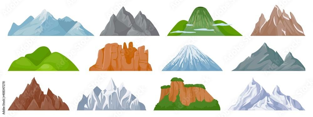 Fototapeta Cartoon mountains. Snowy mountain peak, hill, iceberg, rocky mount climbing cliff. Landscape and tourist hiking map elements vector set. Hill landscape, mountain peak outdoor to hiking illustration