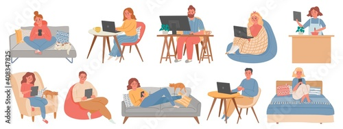 Obraz Work from homes. Man and woman freelancers in room interior working in computer or laptop. People in home offices in quarantine vector set. Illustration freelancer sitting at workplace home - fototapety do salonu