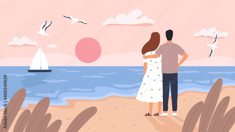 Fototapeta Couple at sea sunset. Man and woman on date at summer beach. Seascape with boat, gulls and tourists. Romantic wedding travel vector concept. Sea coast beach, love romantic together illustration
