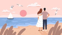 Couple At Sea Sunset. Man And Woman On Date At Summer Beach. Seascape With Boat, Gulls And Tourists. Romantic Wedding Travel Vector Concept. Sea Coast Beach, Love Romantic Together Illustration