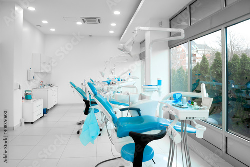 Interior of a modern dentist office with brand new dentist chairs