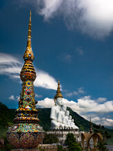 Large Buddha Statue With Temple In The Mountains Of Thailand