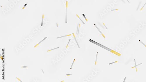 Canvas Print Cigarette falling with white background