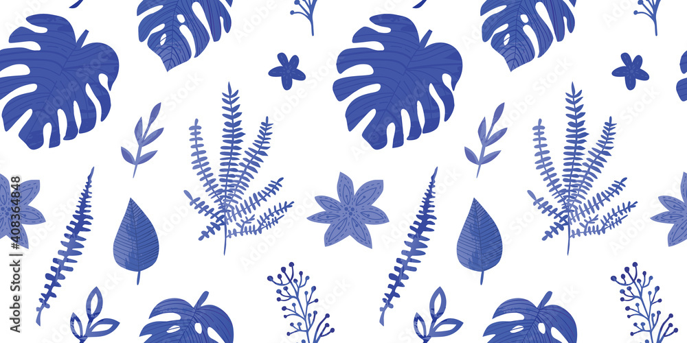 Fototapeta seamless pattern with tropical leaves in blue color. Textured leaves with watercolor effects. Monstera pattern.