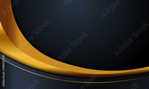 Obraz Black navy and gold curve with gold lines background. - fototapety do salonu