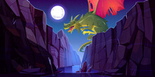 Fairytale Dragon Flying Above River In Canyon At Night. Vector Cartoon Fantasy Illustration Of Mountain Landscape With Magic Green Beast With Red Wings, Water Stream In Gorge And Moon In Sky