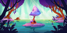 Fantasy Landscape With Huge Mushroom In Forest Pond Or Swamp. Alien Or Magic Unusual Nature For Computer Game, Fairy Tale Book Background. Beautiful Strange Glowing Plant, Cartoon Vector Illustration