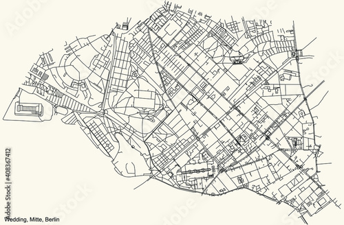Tela Black simple detailed street roads map on vintage beige background of the neighb
