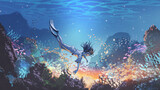 woman dive underwater to see a mysterious light under the sea, digital art style, illustration painting