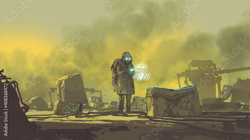 man in chemical protective suit uses a hi-tech device to check the area, digital art style, illustration painting